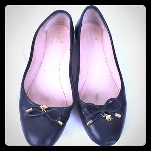 Kate Spade New York Black Gold Leather Ballet Flat